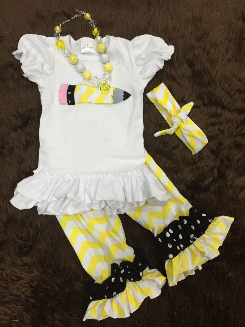 2015 new hot baby girls summer boutique pencil capri set outfits with matching necklace and headband(China (Mainland))