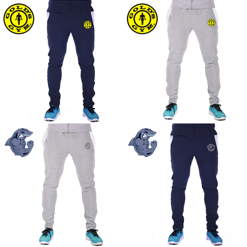 Golds Gym Shark Brand Men Casual Sport Training Pants Mens Joggers Cotton Trousers Gymshark Professional Bodybuilding Sweatpants(China (Mainland))