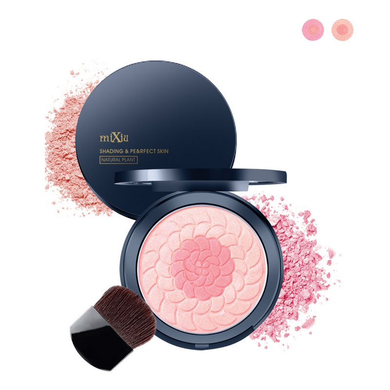 Mixiu Double Use 2 Color Modified Makeup Blush Face Makeup Cosmetic Natural Plant Extract UV Protect Cheek Color Blusher Palette(China (Mainland))