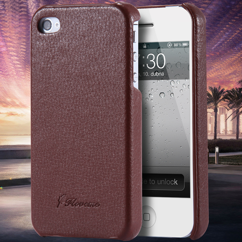 iPhone 4S Capa Retro Lichi Grain Pattern Back Shell Case Apple Iphone 4 4G Real Leather Luxury Flip Phone Cover - Shenzhen SGS Technology Co.,Ltd store