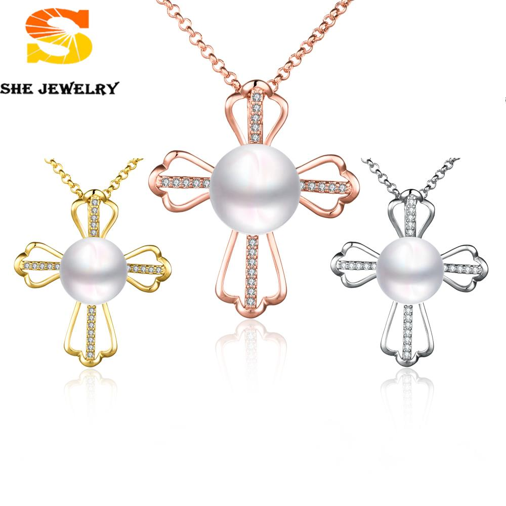 Fashion gold plated Fine Jewelry Zircon Inlay Crucifix Cross Design For Women Big Pearl Necklace Pendants prom Accessories(China (Mainland))
