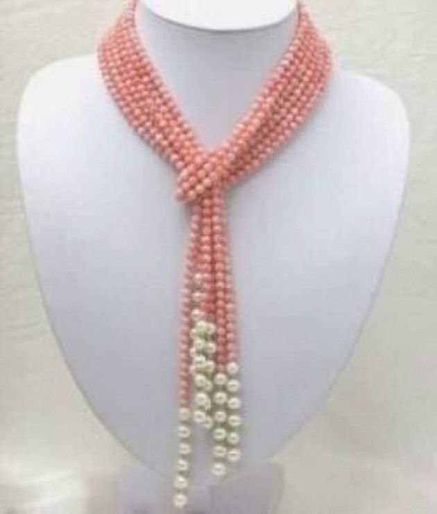 Pink Coral Freshwater Pearl Shell Necklace Fashion Jewelry Rope Chain Necklace Pearl Beads Natural Stone 50inch(Minimum Order1)(China (Mainland))