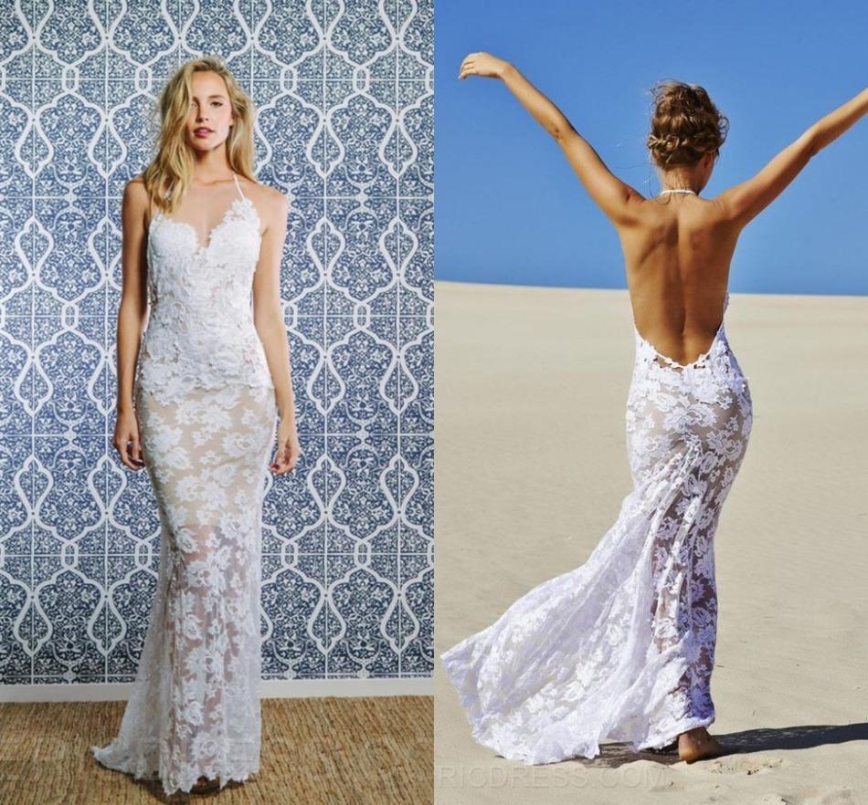 Романтический Плюс Размер Сшитое Холтер Спинки Sexy Кружева Пляж Свадебные Платья 2016 Платья Невесты Платья Невесты