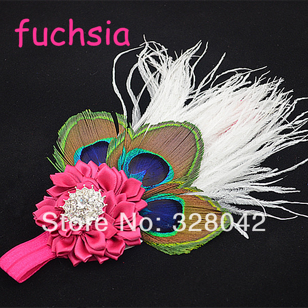 Hot selling 2014 infant headbands satin ribbon Flower headwrap rhinestone feather baby Kid's boutique Hair Accessories 80pcs/lot(China (Mainland))