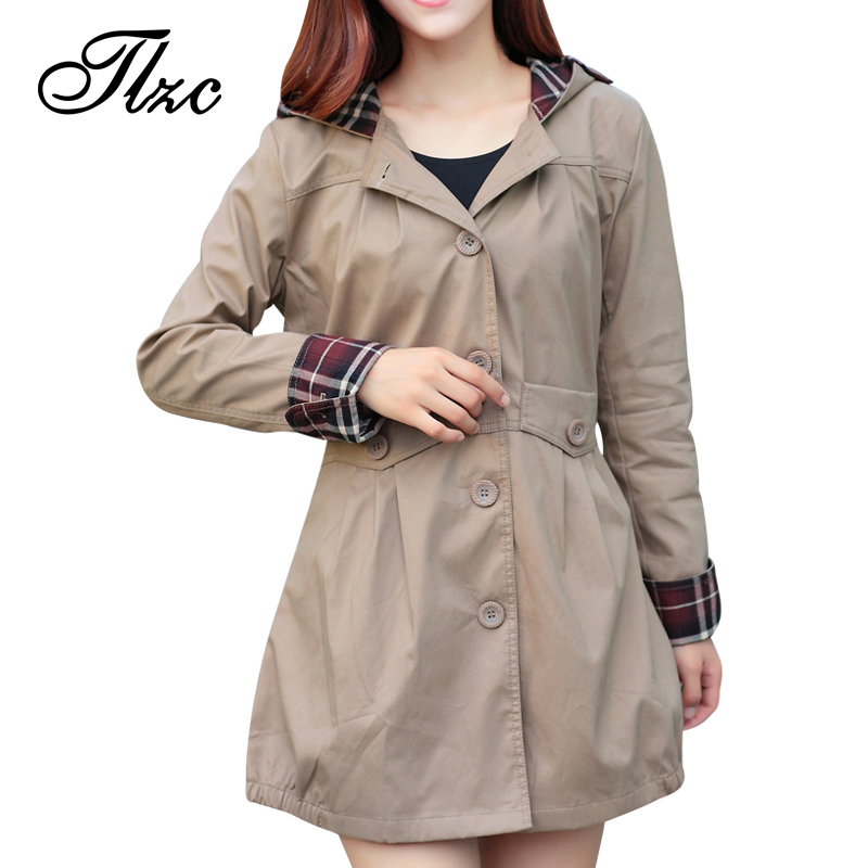Autumn Winter Women Fashion Plaid Trench Plus Size M-3XL Pocket & Button Design Sweet Office Lady Long Hooded Outerwear(China (Mainland))