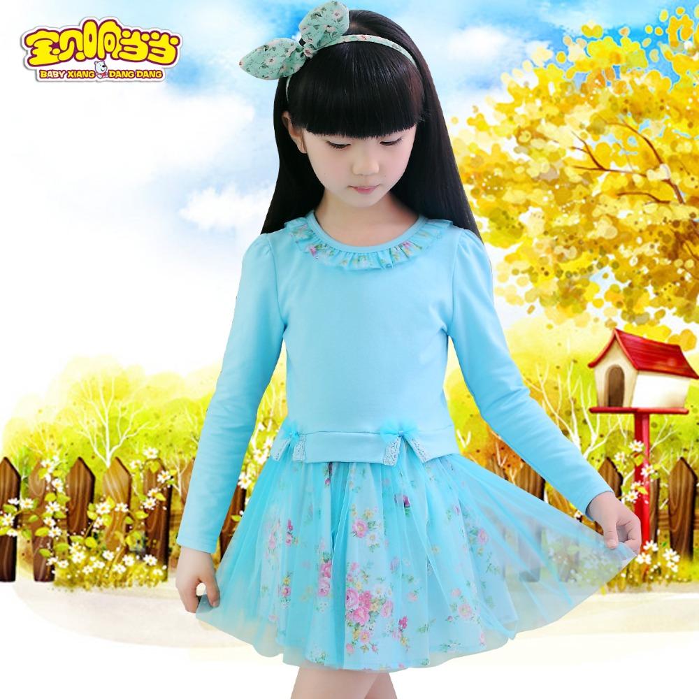 Hot Sale New 2016 fall girl dress style solid Ruffles full Ball Gown baby girl dress children clothing children dress 3-12years(China (Mainland))