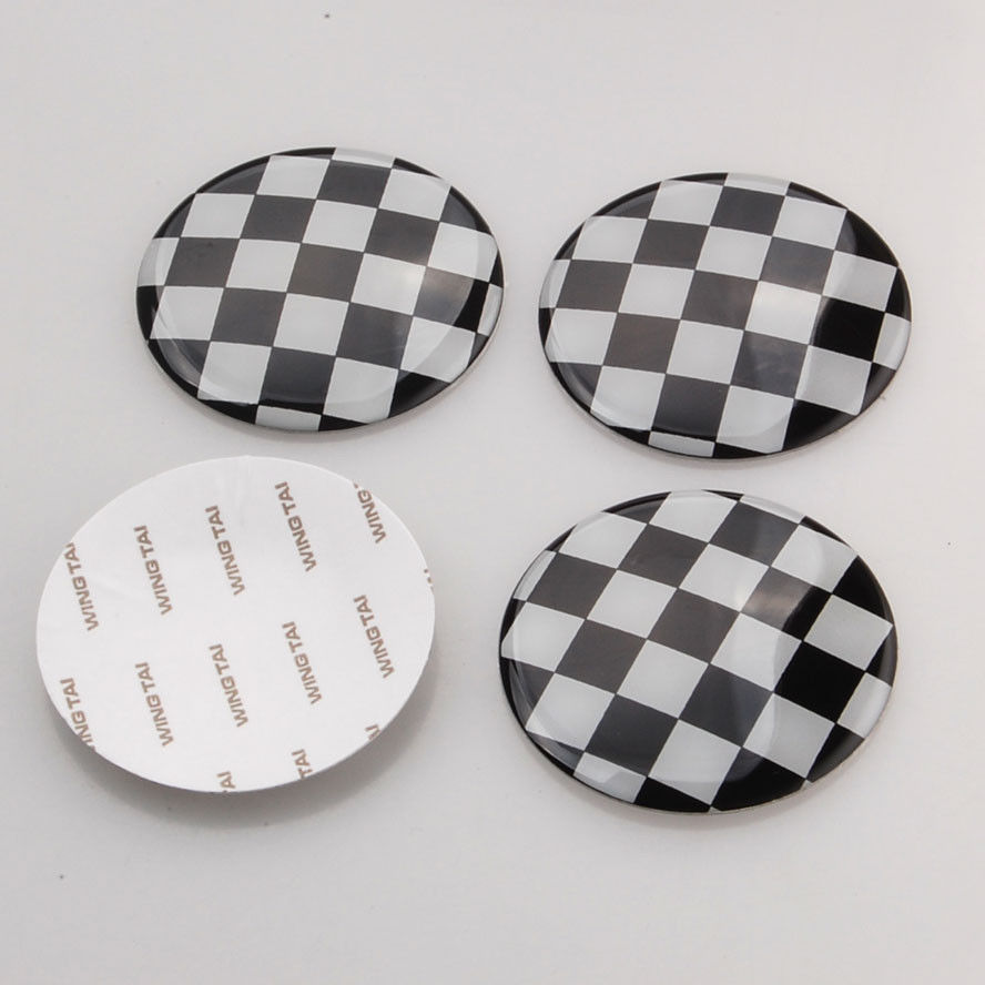 4x 52mm Checkered Pattern Wheel Center Hub Cap Emblem Sticker For Cooper(China (Mainland))