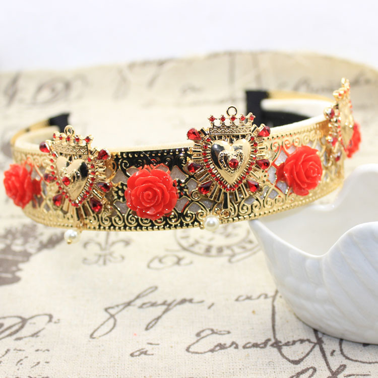 Baroque fashion catwalk women Famous brand design Heart crown Metal hair bands Roses Ruby drops headband wedding hair tiaras(China (Mainland))