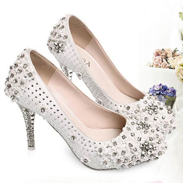 comfortable white wedding shoes rhinestone nightclub shoes