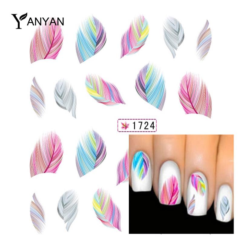 1pcs Fashion Colorful Feather Nail Art Water Transfer Sticker Nail Art Tips Wraps DIY Nail Beauty Accessories(China (Mainland))
