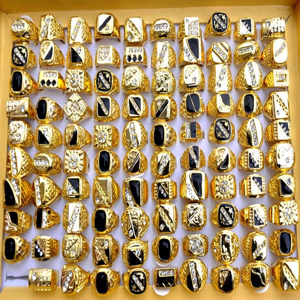 2015 Fashion WomenMens Gold Rings WhiteBlack Enamel Crystal Gold
