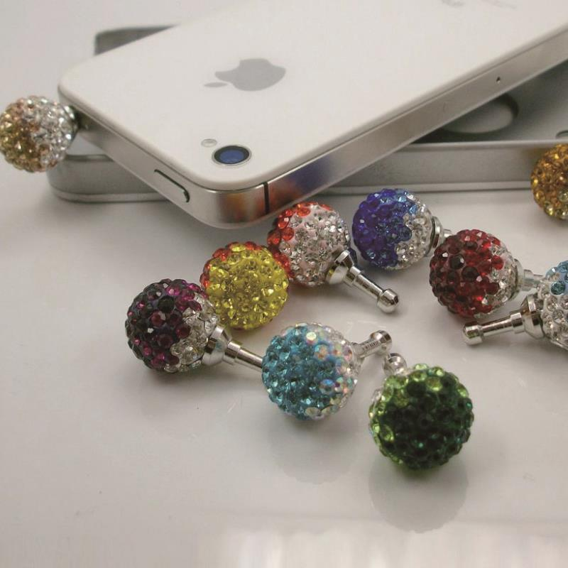 New arrival 14mm diamond ball earphone jack plug 2pcs/lot colorful crystal dustproof Dust Plug for decorate the phone(China (Mainland))