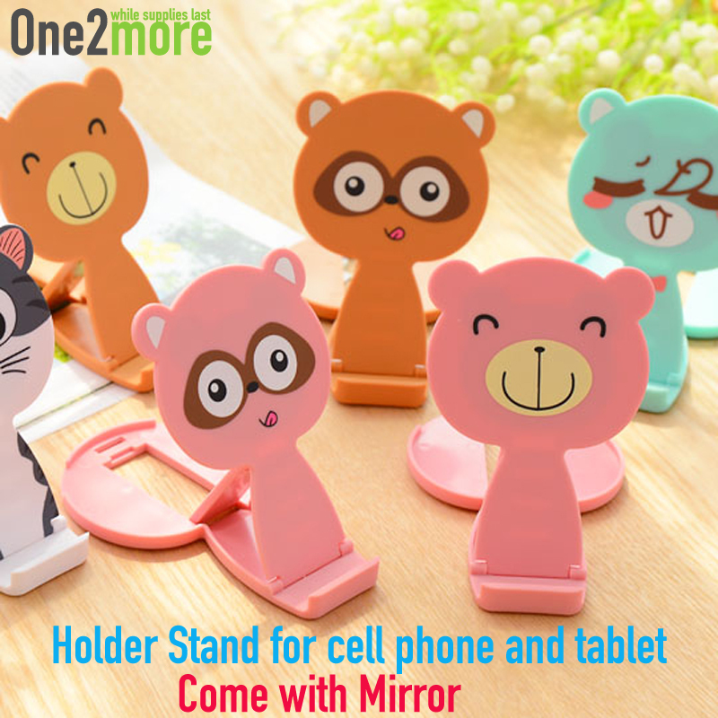 2015 Cute Cartoon Animal Foldable Desk Holder for Cell Phone Tablet Brown Bear Mobile Phone Universal Stand With Mirror(China (Mainland))