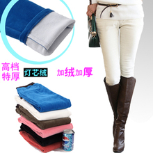 Free shipping Autumn and winter white long corduroy trousers plus velvet thickening denim boot cut pencil jeans corduroy  female(China (Mainland))