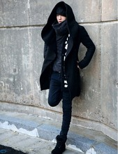 2 Solid Long Style Fashion Men's Coat Cool Nice Quality Casual Long Black Trench Coat Men Novelty Hoodies Unique Trench Coat Men(China (Mainland))