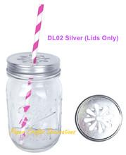 Free Shipping 5pcs/lot Rustic Silver Daisy Cut Mason Jars Lids Fit All Regular Mouth Mason Jars Party Wedding Favors(China (Mainland))