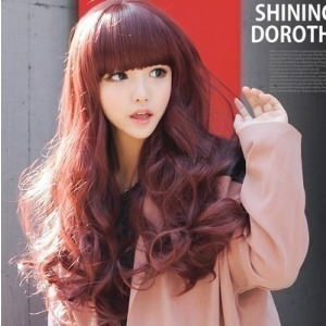 Girls fluffy women's wig maiqi fringe clothes ktv Wine red wig long curly hair