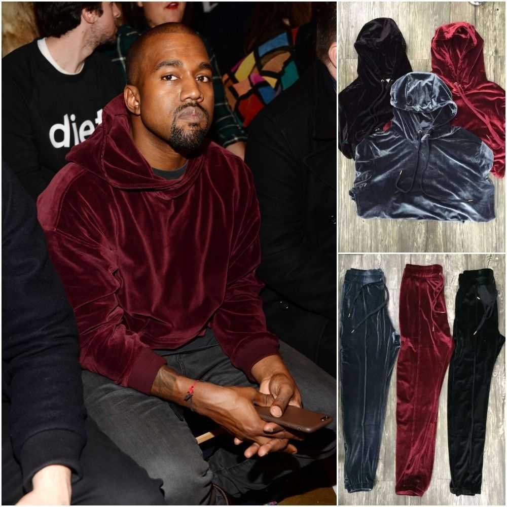 2016 HOT Hight quality hip hop hoodies jumper designer plus size sweat suit mens velour tracksuit jogging suits kanye west(China (Mainland))