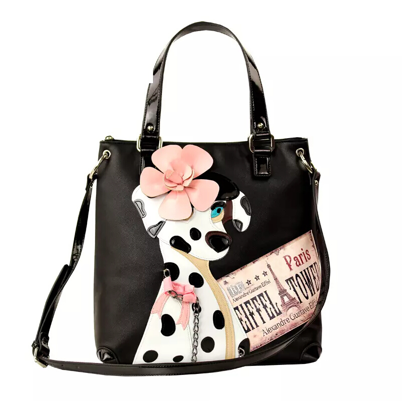 Free shipping Italy 2015 new fashion creative stitching hit color portable shoulder Messenger Dalmatians women bag<br><br>Aliexpress