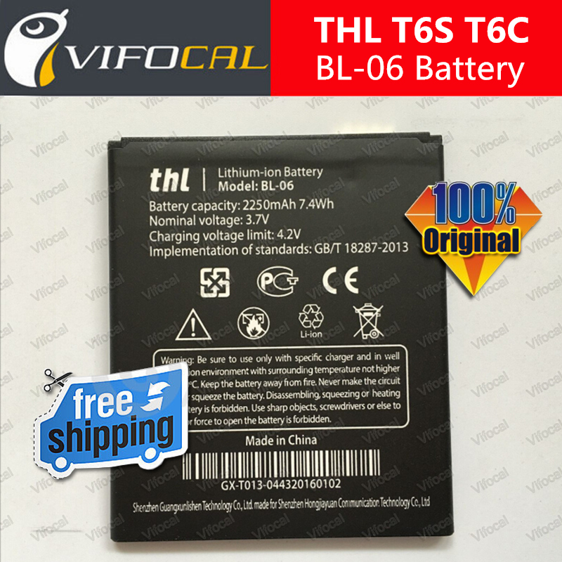 THL T6s Battery In Stock 100 Official Original BL 06 2250mAh Large Battery for THL T6