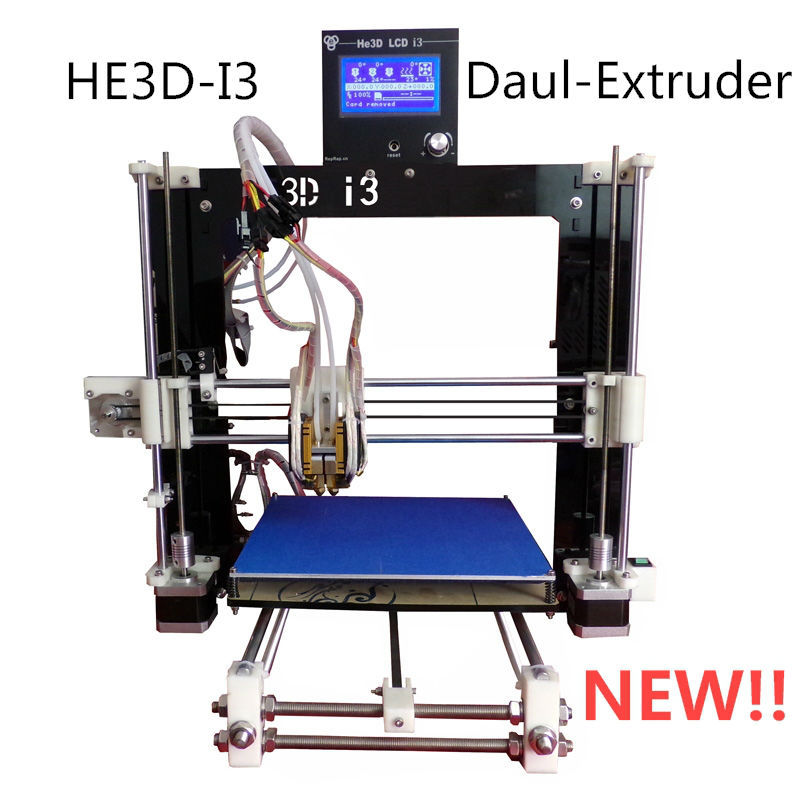 Free shipping He3D Dual Extruder 3D Printer kit diy Reprap Prusa I3 Double Heads Two color