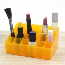 Transparent 24 Grids Acrylic Makeup Organizer Lipstick Holder Display Rack Case Cosmetic Nail Polish Make Up Organiser Tool(China)