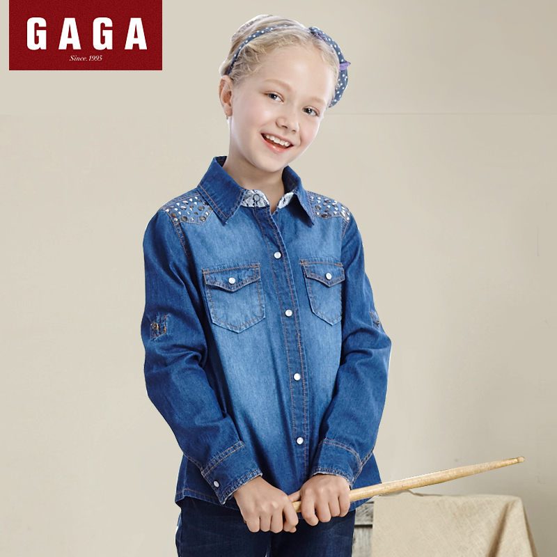 GaGa New 2015 Autumn Girls jean Shirts Long Sleeve Denim Sequined High Quality Fashion 4 - 16 Years Old Kids Clothes Blue Blouse(China (Mainland))