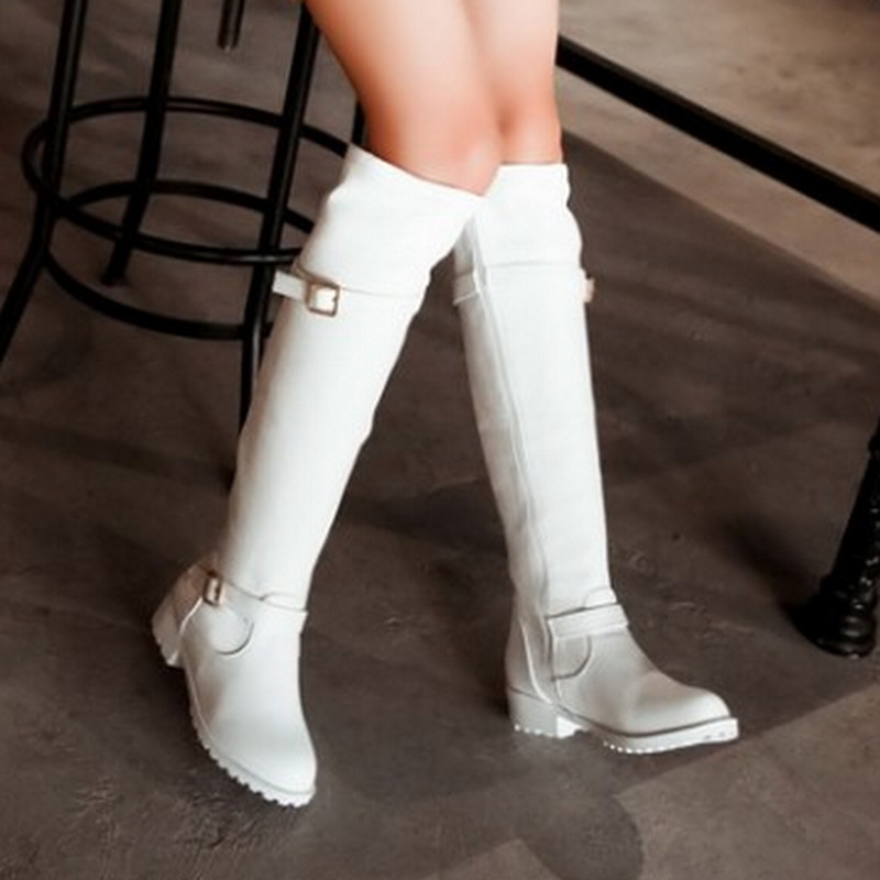 Fashion Sexy Casual Square Med Heels Platform Long Knee-High Women's Shoes Sexy Round Toe Zip Long Knee High Boots Hot Sale