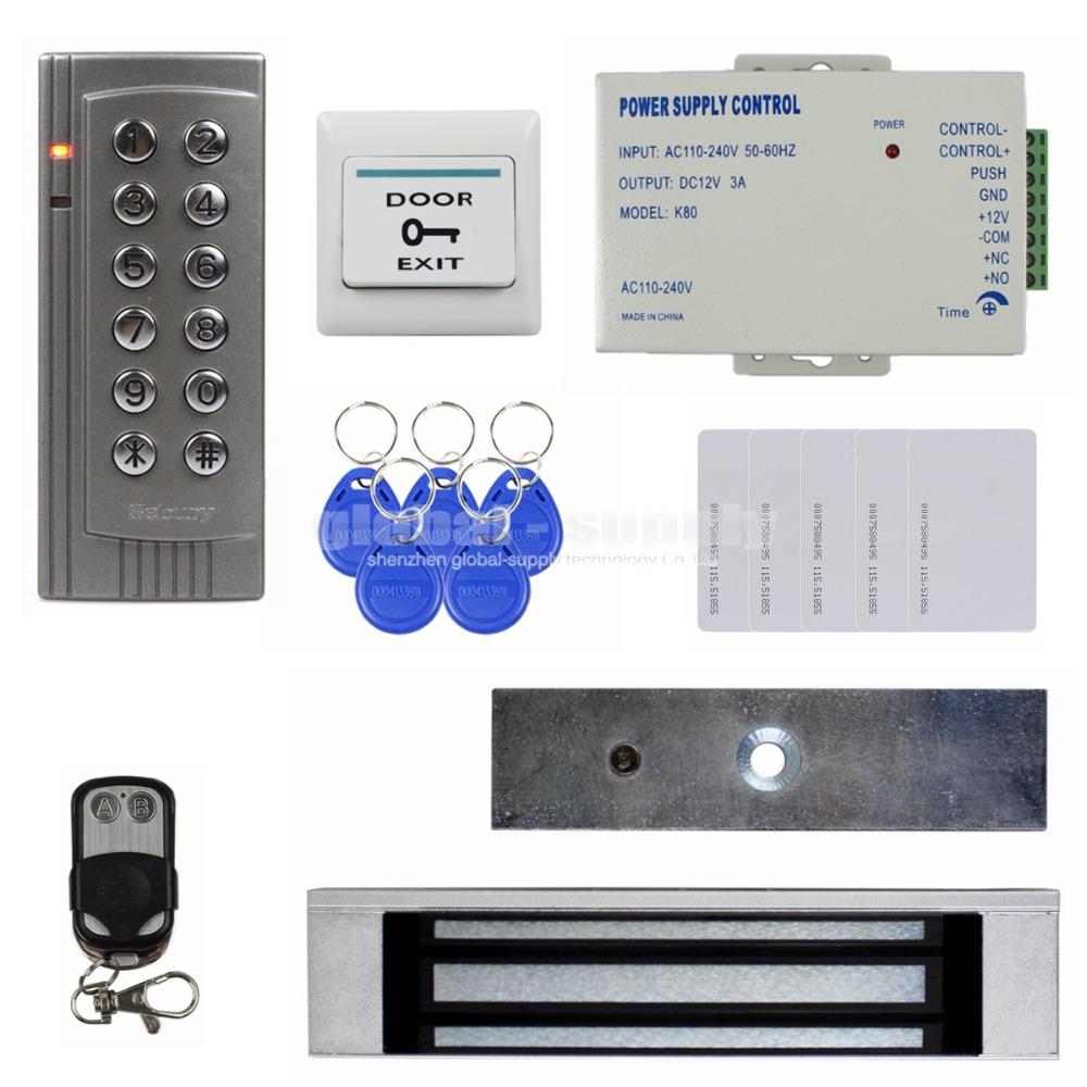 Remote Control 125KHz RFID EM Reader Password Keypad Door Access Control System Kit + 180kg Electric Magnetic Lock K4(China (Mainland))