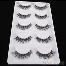 Hot5 Pairs Lot Black Cross False Eyelash Soft Long Makeup Eye Lash Extension 8KQW(China (Mainland))