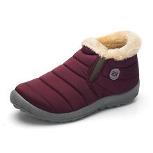 KHTAA กันน้ำหญิงฤดูหนาว Unisex ข้อเท้ารองเท้าผู้หญิงลื่นไถล Plus ขนาดรองเท้าบู๊ตหิมะคู่สไตล์สบายๆ(China)