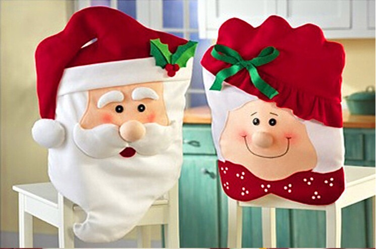 Christmas Decorations Indoor Supplies (100pcs) Santa Claus New Year Kitchen Dinner Chairs Banquet Decoration Chair Covers Cover/ - Wedding Gift Shop store