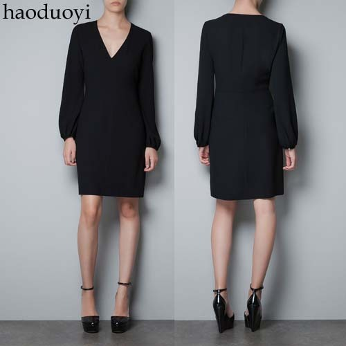 A black long sleeved dress Tutu lining the autumn and winter, 6 sleeve dress code haoduoyi(China (Mainland))