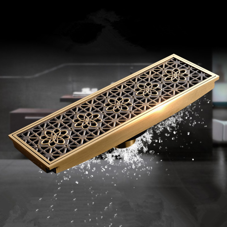 9*30CM Free shipping Euro Style Antique Brass Art Carved Brass Floor Drain Cover Shower Waste Drainer bathroom products DL8547(China (Mainland))