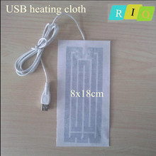 5V USB heating pad Electric Heating Mat Cloth Warm Gloves Foot Knees Elderly health supplies ST004 8x18cm Soft can be bent(China (Mainland))