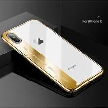 CAFELE מקורי טלפון מקרה עבור iphone X אופנה ציפוי מקרה קשה שקוף חזרה כיסוי עבור אפל iphone X מקרי אנטי שריטה(China)