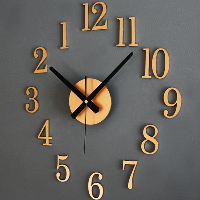 Large 3d Diy Wall Clock Modern Frameless Roman Mirror