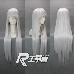 80cm Silvery white long straight cosplay costume wig,Synthetic hair,Lots stock - kaiying hu's store