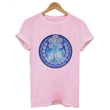 Женская одежда Harajuku рубашка Vogue Мультфильм Принцесса печатных футболка тонкая секция летняя уличная трендовая футболка Топы(China)