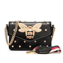 Nova marca famosa mulheres mensageiro sacos preto pequena corrente crossbody sacos feminino de luxo vermelho branco bolsa ombro pérola(China)