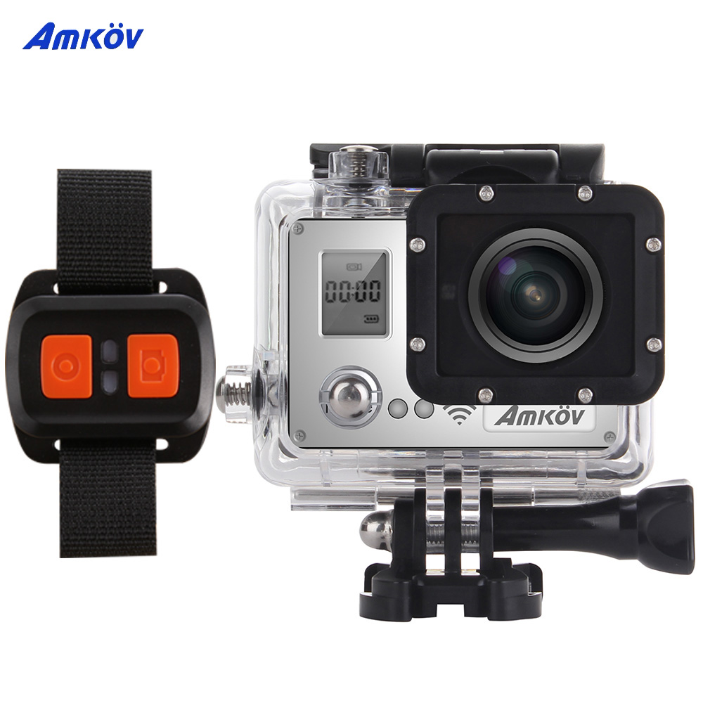 AMKOV AMK7000S 1080P 60fps Wifi Action Camera with Remote Control Watch 4K 20MP 2.0 in LCD Waterproof 40m 170 Wide Angle Car DVR(China (Mainland))