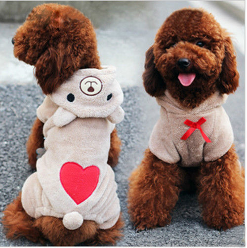 Soft Fleece Clothes Bear Lovely Dogs Pet Warm Jumpsuit Teddy Dog Winter Hoodie(China (Mainland))