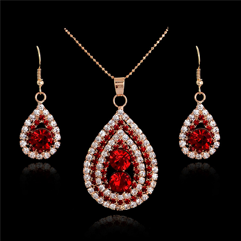 2016 new arrival ruby jewelry set 18k gold plated