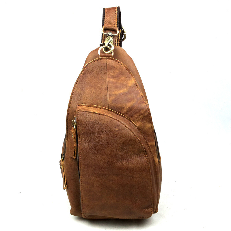 2016 New Fashion 100% Genuine Cowhide Leather Mens Chest Bag Travel Hiking Cycling Riding Vintage Quality Messenger Bags smb405<br><br>Aliexpress