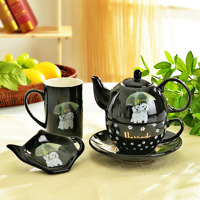 Dog lovers tea set British cute puppy pattern mugs pot suit cafes/small restaurants and leisure lunch coffee set free shipping(China (Mainland))