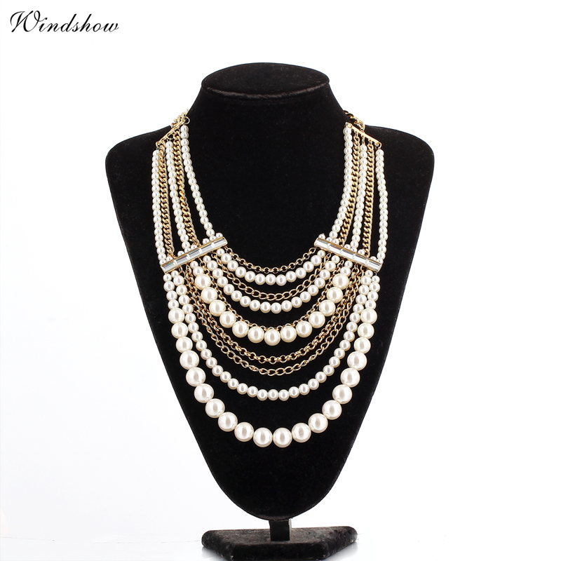 18K Gold Plated Layered Pearls Chains Chunky Big Beaded Statement Collars Maxi Bib Necklaces Fashion European Jewelry For Women(China (Mainland))
