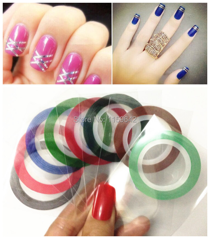 Rolls Striping Decals Foil Tips Tape Line DIY Design Nail Art Stickers Tools Decorations Beauty 6Pcs/lot Mixed 6 Colors (China (Mainland))