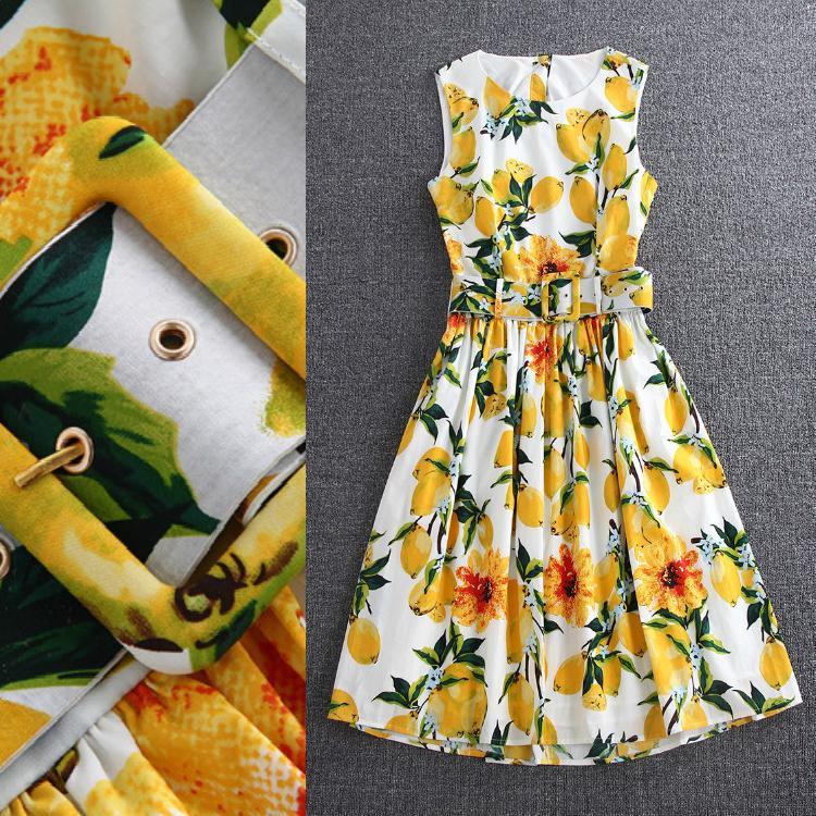 100%Cotton!High Quality New Print Dress European Summer 2016 Women Yellow Lemon Print Adjustable Belt Sleeveless Dress CottonОдежда и ак�е��уары<br><br><br>Aliexpress