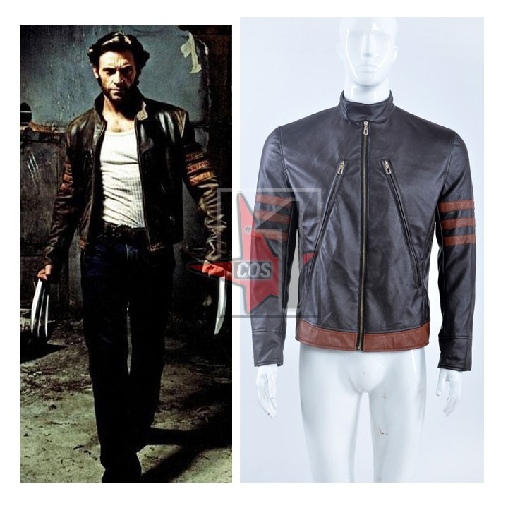 America Movie X-Men mens cosplay jacket Logan Cool Locomotive Brown Leather coat outfit for Halloween role play(China (Mainland))