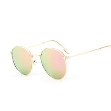 2016 retro rodada óculos de sol das mulheres dos homens marca designer óculos de sol para as mulheres Liga espelho óculos de sol ray feminino oculos de sol